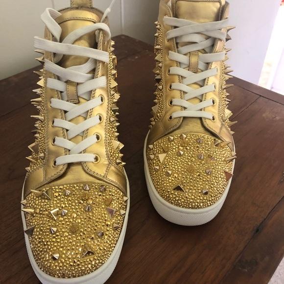 Gold Christian Louboutins Mens Shoe